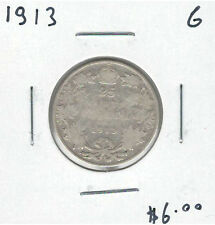 Canada 1913 Silver 25 Cents G