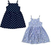 Girls Baby Summer Dress GEORGE Sleeveless Floral Blue Spotty Cotton Strappy NEW