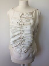 L K Bennett  Silk & Wool Mix Ivory Fitted Blouse With Ruffled Yoke Size 12