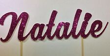 GLITTER name cut out tooth pick cake topper for Birthday cakes or scrap booking