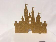 Princess castle Birthday cake topper acrylic Glitter gold