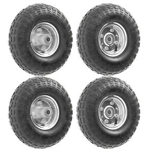 "4 x 10"" Pneumatic Sack Truck Trolley Wheel Barrow Tyre Tyres Wheels 4.10/3.5-4.0"