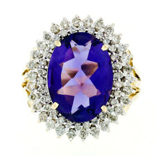 Large 14K TT Gold 7.50ct Oval Amethyst w/ Tiered Dual Diamond Halo Cocktail Ring