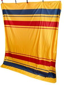 Yellow Yellowstone Style Blanket with Red and Blue Stripes Striped Bedspread