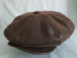 GENTS 8-PIECE FAUX LEATHER NEWSBOY BAKER BOY CAP AKA CABBY CAP PAPERBOY HAT