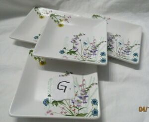 4 Pier 1 Imports Flower Pattern Square Dessert Appetizer Plates Lot G
