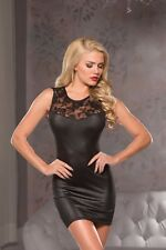 Laced Mini- Dress Wet Look Lingerie Sexy Apparel Exotic Black Large/ Extra Large
