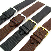 Genuine Leather Watch Band Lizard Grain Black or Brown 16, 18, 20, 22, 24, 26mm