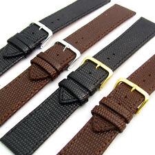 Genuine Leather Watch Band Lizard Grain Black or Brown 16, 18, 20, 22, 24, 26mm