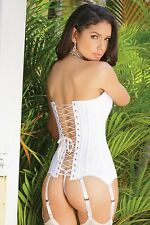 Coquette M Boned Lace Satin Corset Back Lace Up Garters Strapless Bridal White