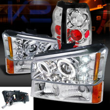 03-06 Silverado 1500 Chrome LED Halo Projector Headlights+Bumper Lamp+Tail Light