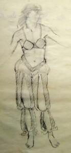 FIGURE STUDIES  STUDY OF ORIENTAL COSTUME ON LADY HENRY KEEN PENCIL C1930