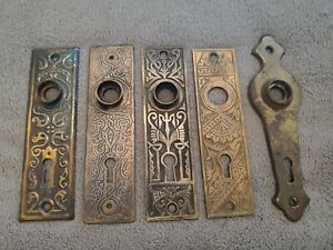 ANTIQUE LOT OF FIVE ORNATE VICTORIAN DOOR  BACK PLATES ~ VARIETY