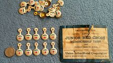 10 American JUNIOR RED CROSS Vintage 1956 Lapel Pins LITHOGRAPHERS of AMERICA