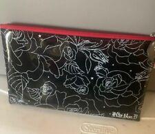 Kat Von D Rose Printed Vinyl Makeup Bag Black W/ White Flowers