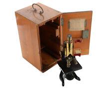 Ernst Leitz Wetzlar Antique Brass Microscope w/Box c1920s