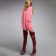 Women Chunky Knitwear Cowl Neck Jumper Top Oversize Drape Pullover Sweater Dress