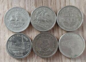 6 x 1 Pound Coins IOM, Gibraltar, Jersey, Falklands. Nice collection £1