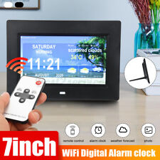 7inch WiFi Digital Alarm Clock Time Date Month Year Weather Forecast New @K