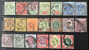 GB KEVII 1902on Set Of 20 Used Incl Shades Good To Fine Used