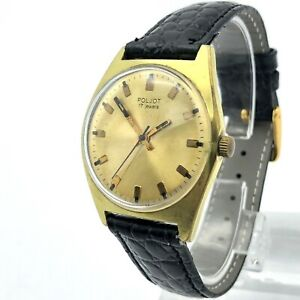 Vintage Watch POLJOT Gold Plated Men's Casual Mechanical USSR SERVICED Export SU