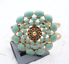 PILGRIM Cuff Bangle Bracelet GRACEFUL Flower Chrysanthemum Gold Mint Green BNWT