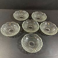 6 VINTAGE GLASS  BOBECHES FOR CHANDELIERS OR LAMPS 3 7/8 Diameter 3/4 Center