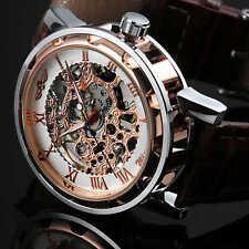 WINNER Uhr Herrenuhr Edelstahl Skelett Automatik Uhr Mechanik Leder Armbanduhr