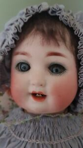 Antique German Bisque head baby doll original clothes by S & Q