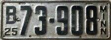 GENUINE  American 1925 Minnesota USA License Licence Number Plate Tag 73-908