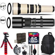 500mm-1300mm Telephoto Lens for Rebel T6 T6i + Triple Tripod Bundle - 32GB Kit