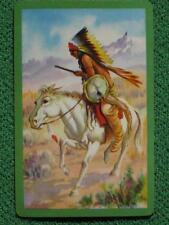 Native American Indian Warrior on Horseback Old West Art Swap Card Vintage 1940s