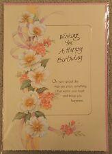 Wishing You a Happy Birthday - Flower design - A4 Happy Birthday Card