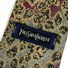 Yves Saint Laurent 100% Silk Luxury Neck Tie Gold Green Red Floral Paris Seoul