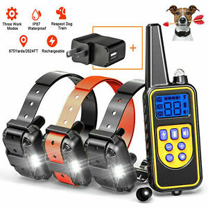 1/2/3Dog IP67 Dog Shock Training Collar Rechargeable Remote Control 875 Yards
