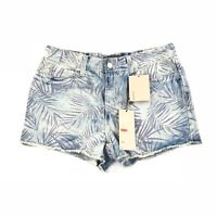 Levi's Blue Print Faded High Rise Cotton Denim Cutoff Shorts Size 7 NWT Floral