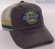 Hat Cap Chevrolet Chevy Genuine Parts Super Service Tan Mesh Stripes Grey CF
