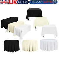 Polyester Wedding Table Cloths Fitted Table Covers Party Event White Black Ivory