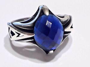 925 Sterling Silver Men Ring Blue Sapphire Gemstone Ottoman Handmade Style