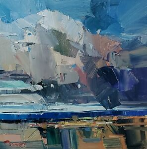 JOSE TRUJILLO Oil Painting IMPRESSIONISM CLOUDS LANDSCAPE ORIGINAL MODERN ART