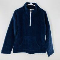 J. Crew Sherpa Popover Jacket Sweater Navy Blue Small Warm Cozy