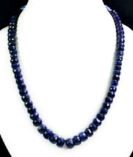 Natural Blue Sapphire 6-11mm Big Size Faceted Beads Gemstone String Necklace