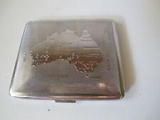 Vintage 1950s? Silver Cigarette Tobacco Case - Map of Australia