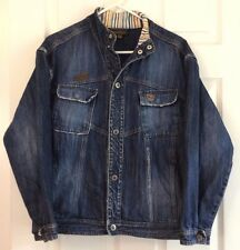 Jean Jacket Timberland Denim Cotton Distressed Seam Snap Front Relaxed Casual XL