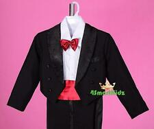 5pcs Black Red Baby Boy Formal Suit Tuxedo Wedding Party Pageboy Size 0 St001a