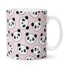 Panda Faces Pattern 10oz Mug Cup - Animal Pink Funny