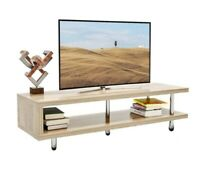 Entertainment Center TV Stand With 2-Shelf Storage Wood Console Coffee Table