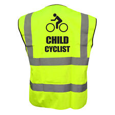 HI VIZ VIS CHILD CYCLIST KIDS VEST FANCY DRESS JOKE CUSTOM WAISTCOAT CHILD