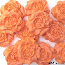 12 Mid Orange Sugar Roses edible sugarpaste flowers wedding cake decorations