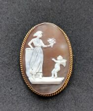 Antique Victorian Shell Cameo 9ct Gold Brooch Pin Cupid And Venus